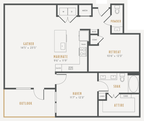 Alexan Lower Greenville One Bedroom Floor Plans A22