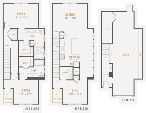 Alexan Lower Greenville Townhomes Floor Plans TH6