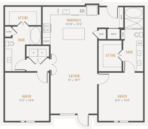 Alexan Lower Greenville Two Bedrooms Floor Plans B2