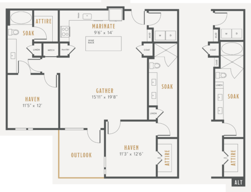 Alexan Lower Greenville Two Bedrooms Floor Plans B5