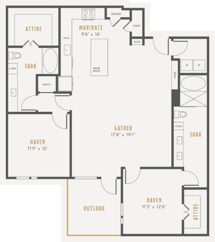 Alexan Lower Greenville Two Bedrooms Floor Plans B6