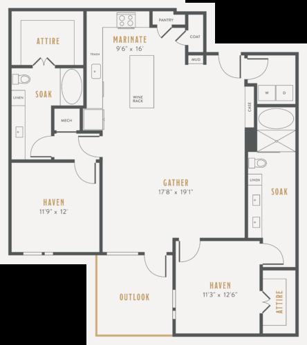 Alexan Lower Greenville Two Bedrooms Floor Plans B6