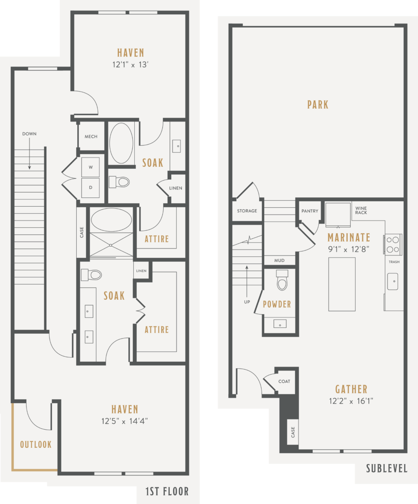 Two bedroom townhome floor plan layout at Alexan Lower Greenville