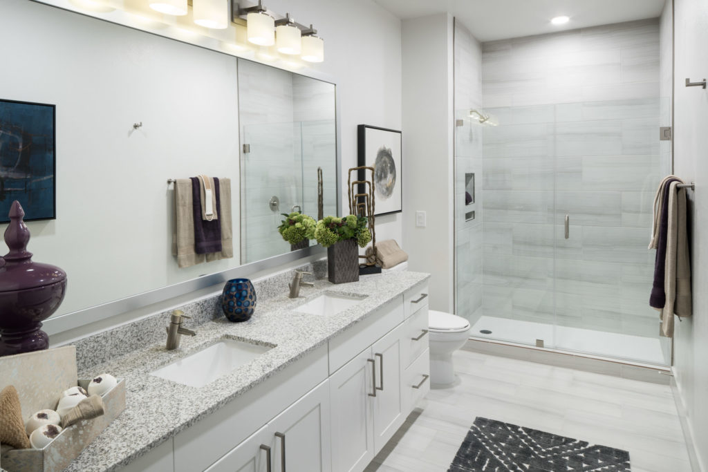 Apartment bathroom at Alexan Lower Greenville