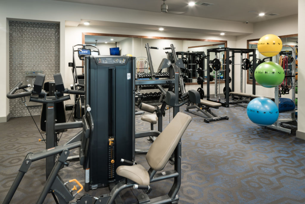 Fitness studio at Alexan Lower Greenville