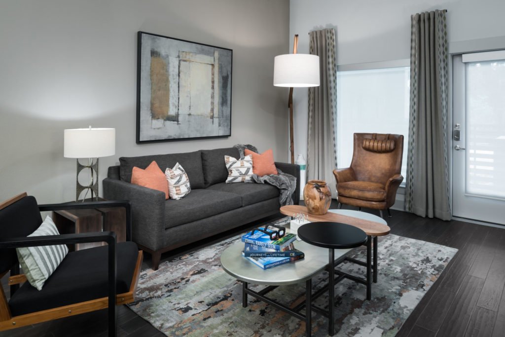 Apartment living room at Alexan Lower Greenville
