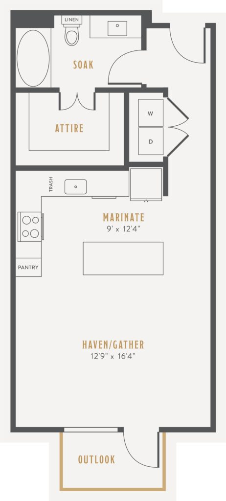Studio floor plan layout at Alexan Lower Greenville