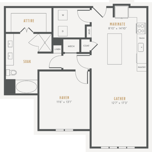 a15 luxury one bed/one bath floorplan at Alexan Lower Greenville - Start Living Better Today
