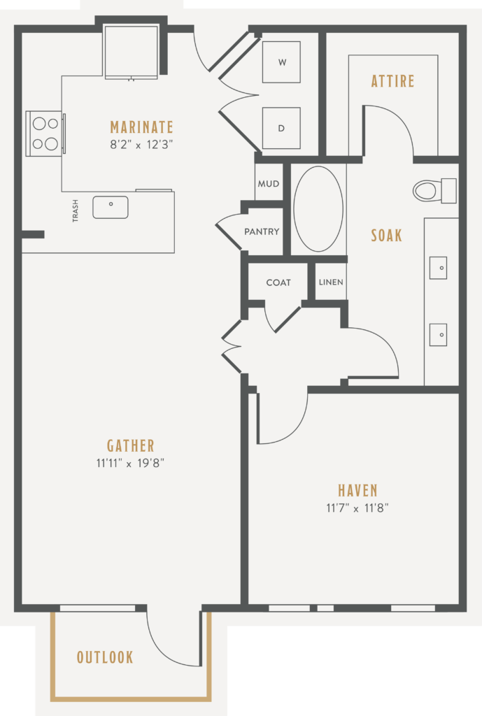 A7 one bed/one bath floorplan - Get the Lifestyle You Crave